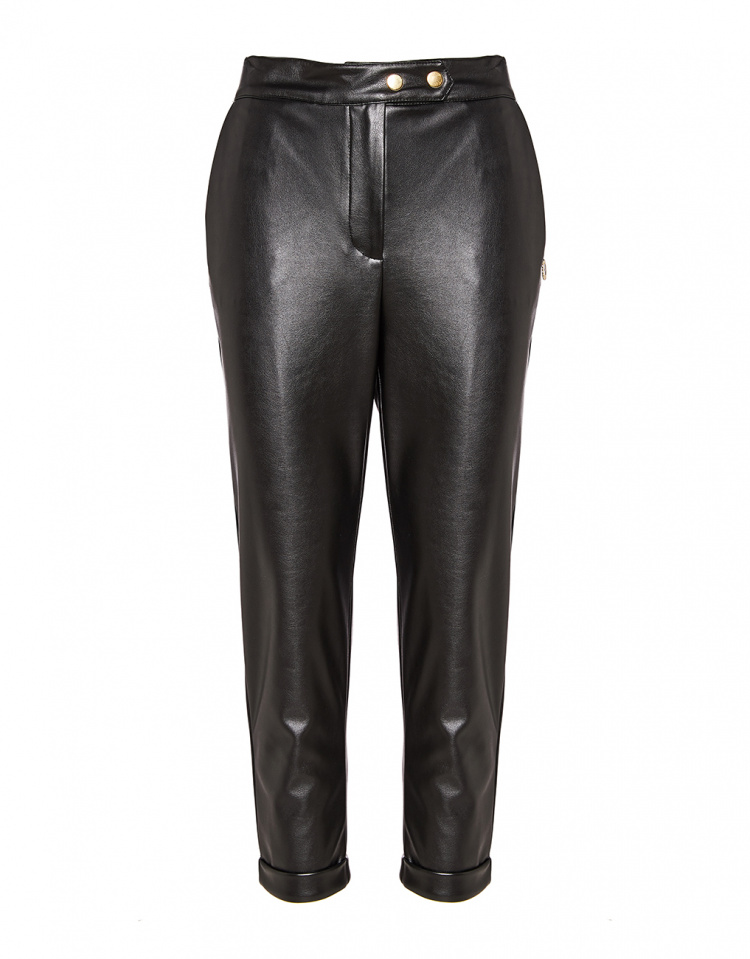 Leather look παντελόνι με ρεβέρ